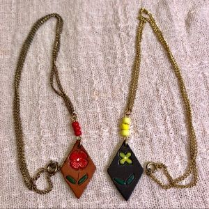 Jewelry - (2) Vintage Floral Leather Mini 70's Necklaces
